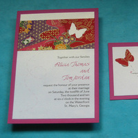 Stationery, white, pink, red, brown, gold, Cultural, Invitations, Butterfly, Asian, Unique, Japanese, Ethnic, Handmade, Layered, Kemba celebrations