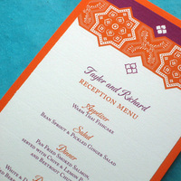 Reception, Flowers & Decor, Stationery, orange, pink, purple, Cultural, Menu, Unique, Indian, Persian, Ethnic, Moroccan, Handmade, Layered, Kemba celebrations