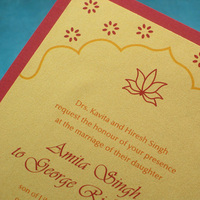 Stationery, yellow, red, gold, Cultural, Invitations, Unique, Indian, Ethnic, Handmade, Layered, Kemba celebrations