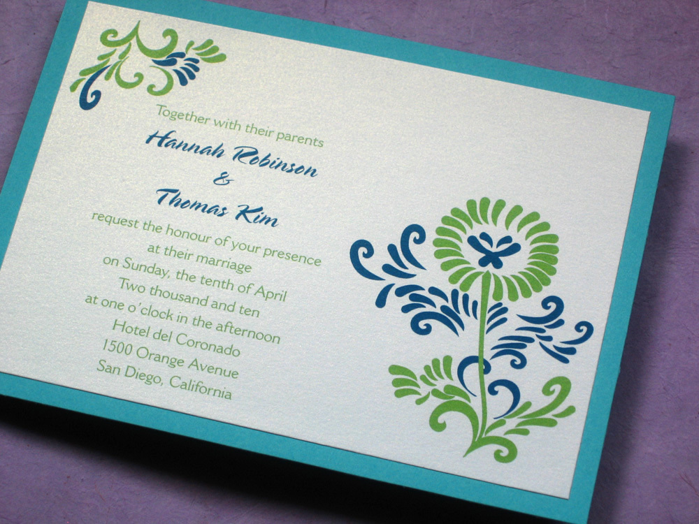 Flowers & Decor, Calligraphy, Stationery, blue, green, Cultural, Invitations, Flower, Asian, Unique, Floral, Korean, Ethnic, Handmade, Layered, Kemba celebrations