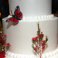 Reception, Flowers & Decor, Cakes, white, red, cake, Flowers, Violeta alvarez photography