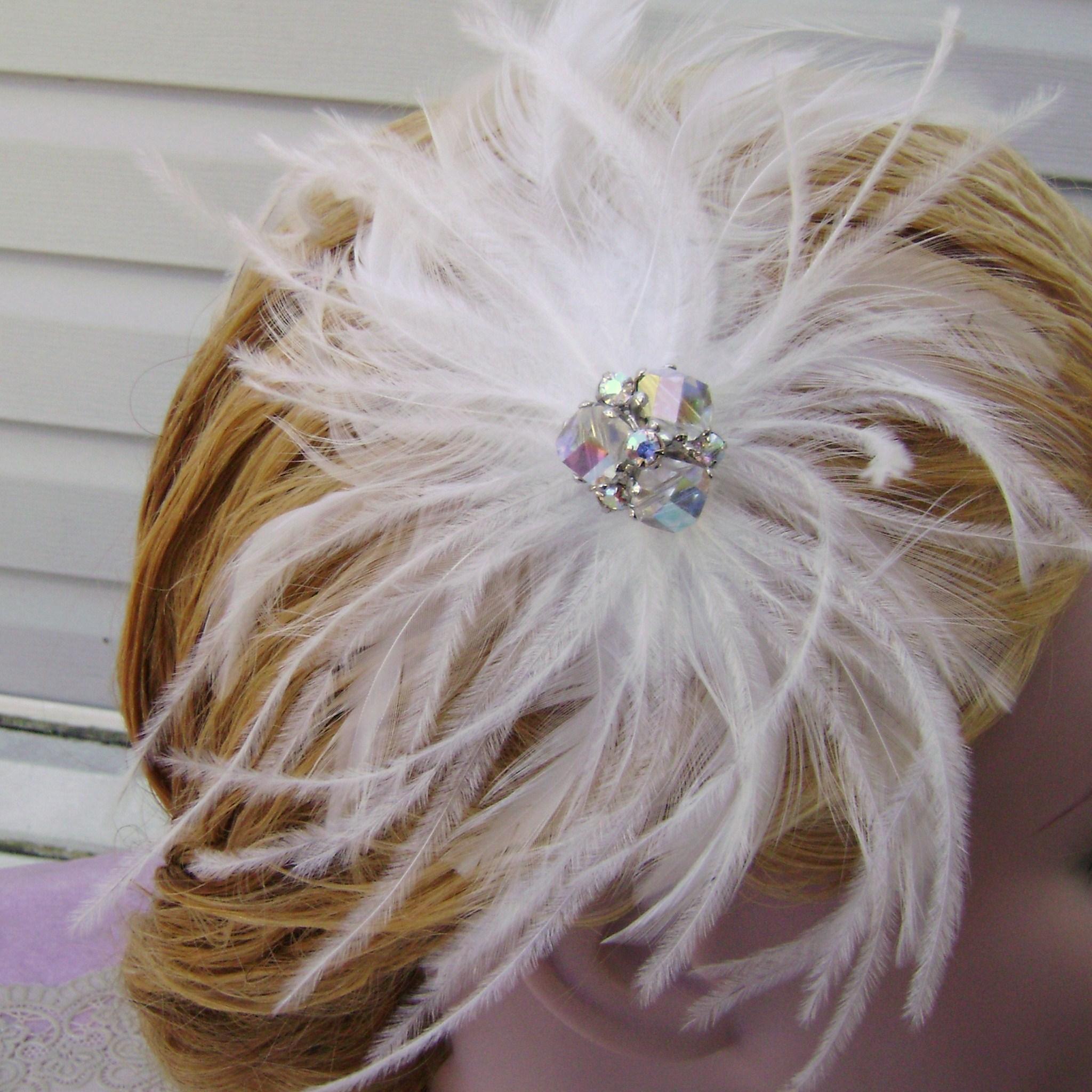 Beauty, Jewelry, Bridesmaids, Bridesmaids Dresses, Vintage Wedding Dresses, Fashion, white, silver, Feathers, Vintage, Hair, Accessory, Fascinator, Feather, Donnaella wedding accessories, Feather Wedding Dresses
