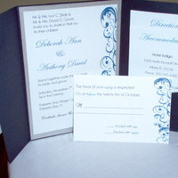 Stationery, blue, silver, Invitations, Custom, Pocketfolds, Sincerely yours events