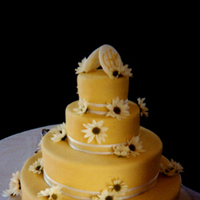 Reception, Flowers & Decor, Cakes, yellow, cake, Ribbon Wedding Cakes, Wedding, Fondant, Daisy, Ribbon, Stacked