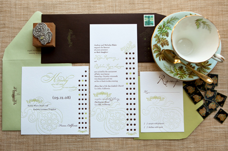 Inspiration, Stationery, white, blue, green, brown, invitation, Vintage, Classic, Classic Wedding Invitations, Vintage Wedding Invitations, Invitations, Chocolate, Elegant, Tall, Board, Victorian, Formal, Dots, Polka, Chartreuse, Cotton, Darlington, Delphine