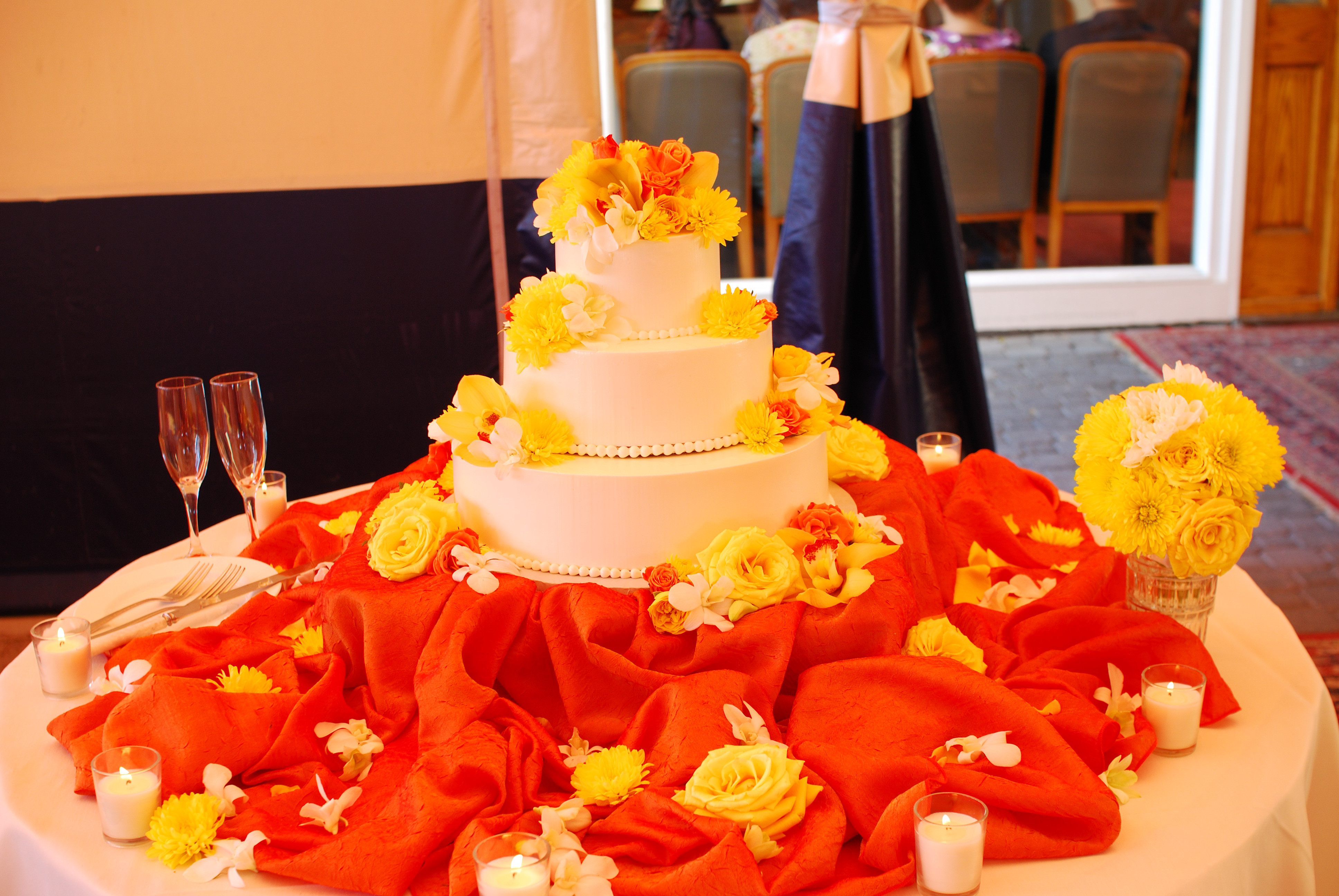 Reception, Flowers & Decor, Cakes, yellow, orange, cake, Flowers, Events by karen lee