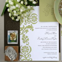 Inspiration, Stationery, white, green, brown, invitation, Modern, Classic, Classic Wedding Invitations, Modern Wedding Invitations, Invitations, Southern, Arch, Chocolate, Elegant, Board, Traditional, Letterpress, Design, Simple, South, Press, Charleston, Letter, Cotton, Delphine, Ava