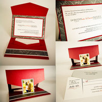 Stationery, white, red, black, silver, Invitations, Creative designs by mimi