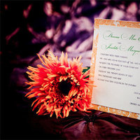 Flowers & Decor, Stationery, yellow, orange, green, brown, gold, Invitations, Flowers, Creative designs by mimi