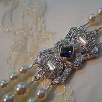 Jewelry, white, blue, silver, Bridalbling