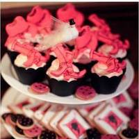 Cakes, pink, black, cake, Cupcakes, Party, Bachlorette, Sugar and spice and