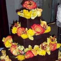 Cakes, yellow, orange, brown, cake, Chocolate, Decorations, Sugar and spice and