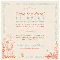 Stationery, orange, blue, Invitations, The, Save, Date