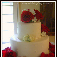Flowers & Decor, Cakes, white, red, cake, Flowers, Roses, Stephanotis, Wedding, Rose, Petals, A special day designs