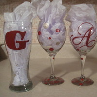 Reception, Flowers & Decor, Bridesmaids, Bridesmaids Dresses, Fashion, white, red, silver, gold, Sassy glasses by stephanie handpainted, personalized glassware