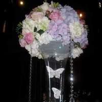 Reception, Flowers & Decor, white, pink, purple, Centerpieces, Flowers, Centerpiece, The flower company