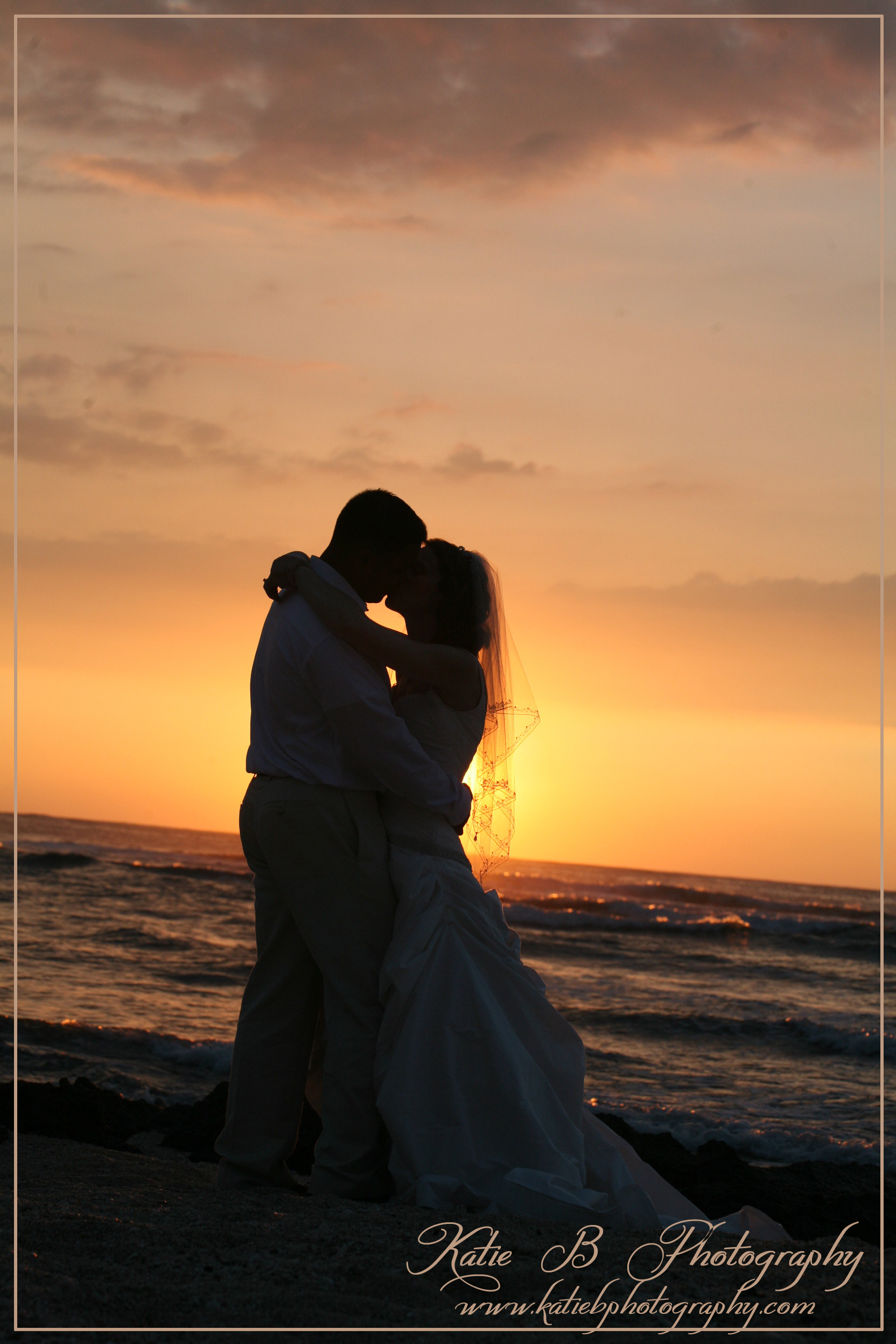 Inspiration, orange, Bride, Groom, Wedding, Kiss, Ocean, Board, Sunset, Katie b photography