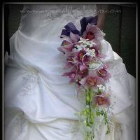 Flowers & Decor, Bridesmaids, Bridesmaids Dresses, Fashion, pink, purple, Bride Bouquets, Bridesmaid Bouquets, Flowers, Stephanotis, Bouquet, Cymbidium, Bling, Dendrobium, Flower Wedding Dresses
