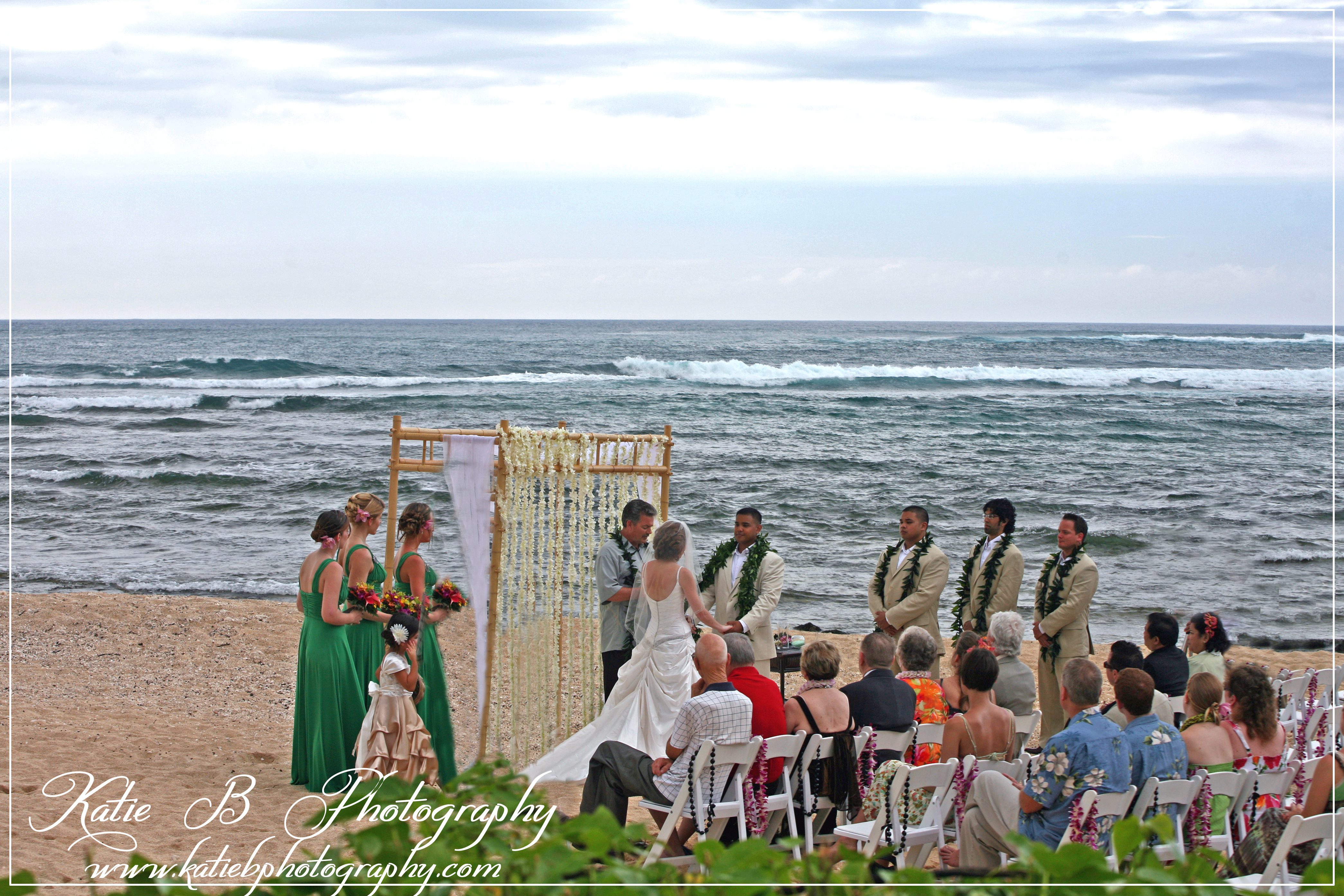 Ceremony, Flowers & Decor, Decor, Bridesmaids, Bridesmaids Dresses, Wedding Dresses, Destinations, Fashion, white, yellow, orange, pink, red, purple, green, dress, Hawaii, Ceremony Flowers, Bridesmaid Bouquets, Groomsmen, Flowers, Ocean, Estate, Palm, Katie b photography, Loulu, Flower Wedding Dresses