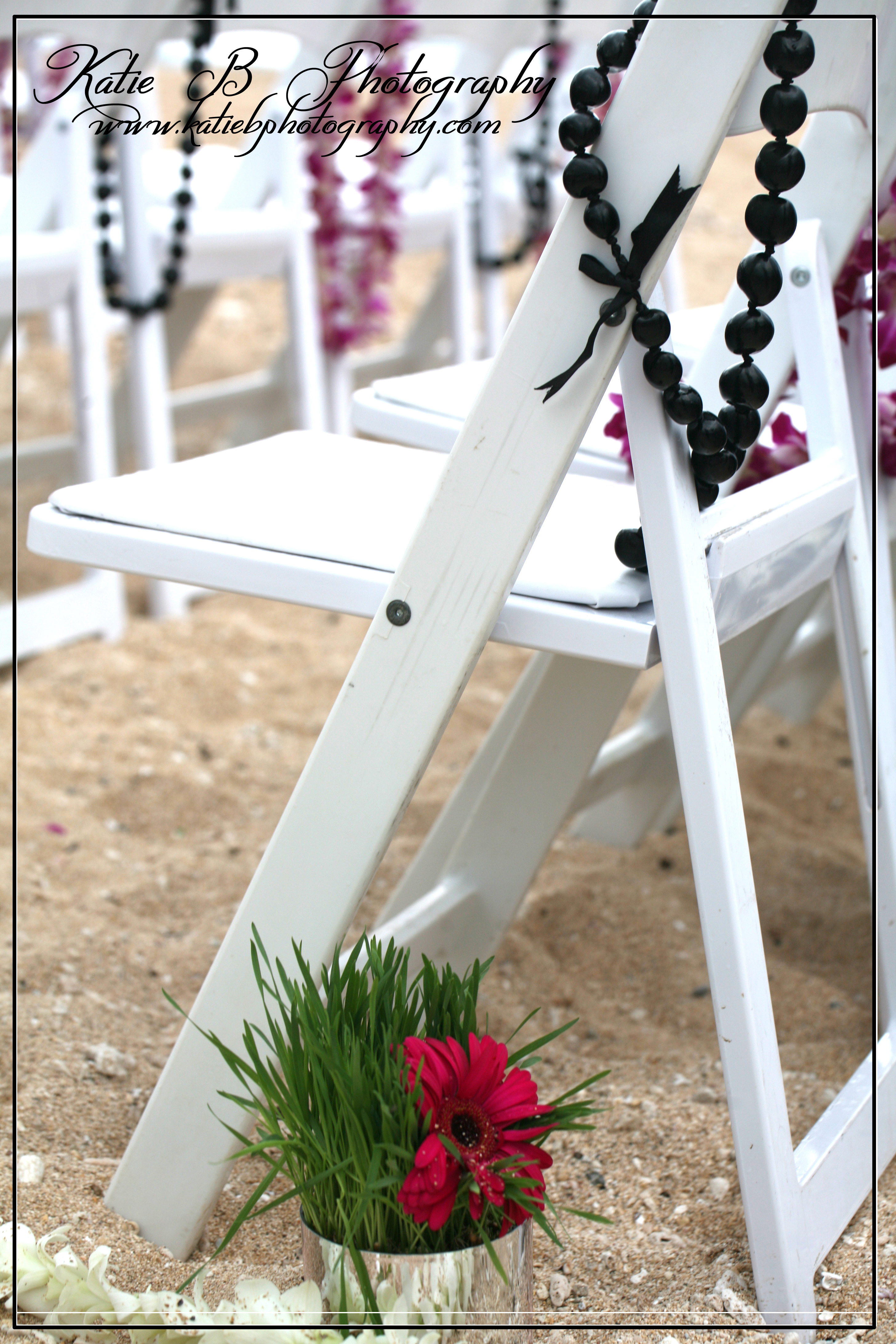 Ceremony, Flowers & Decor, Destinations, white, pink, Hawaii, Ceremony Flowers, Flowers, Orchid, Chair, Leis, Gerber, Katie b photography, Kukui