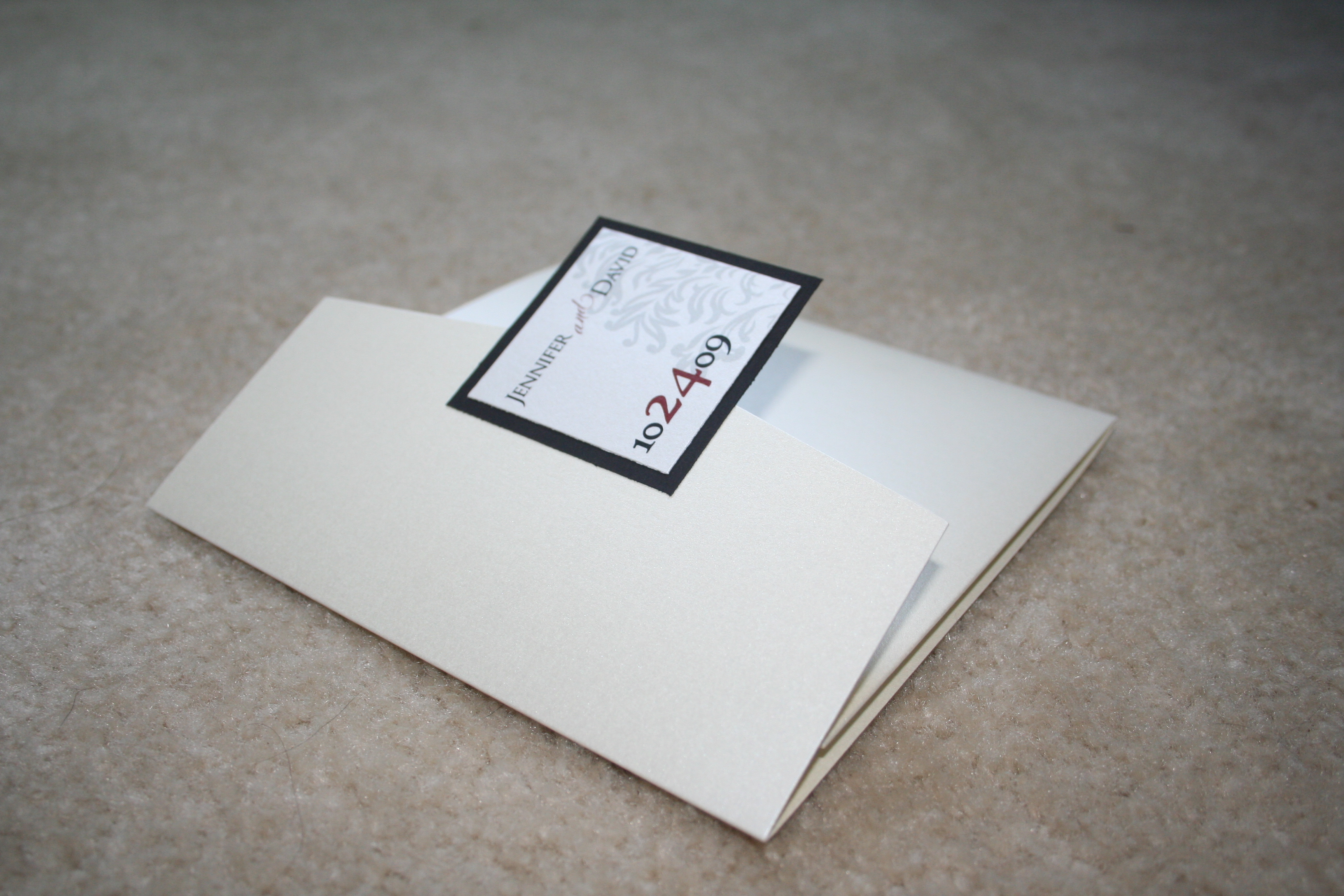 DIY, Stationery, white, red, black, Invitations, Pocketfold, Damask