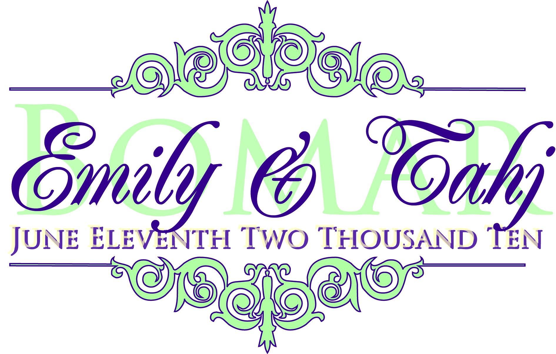 purple, green, silver, Monogram