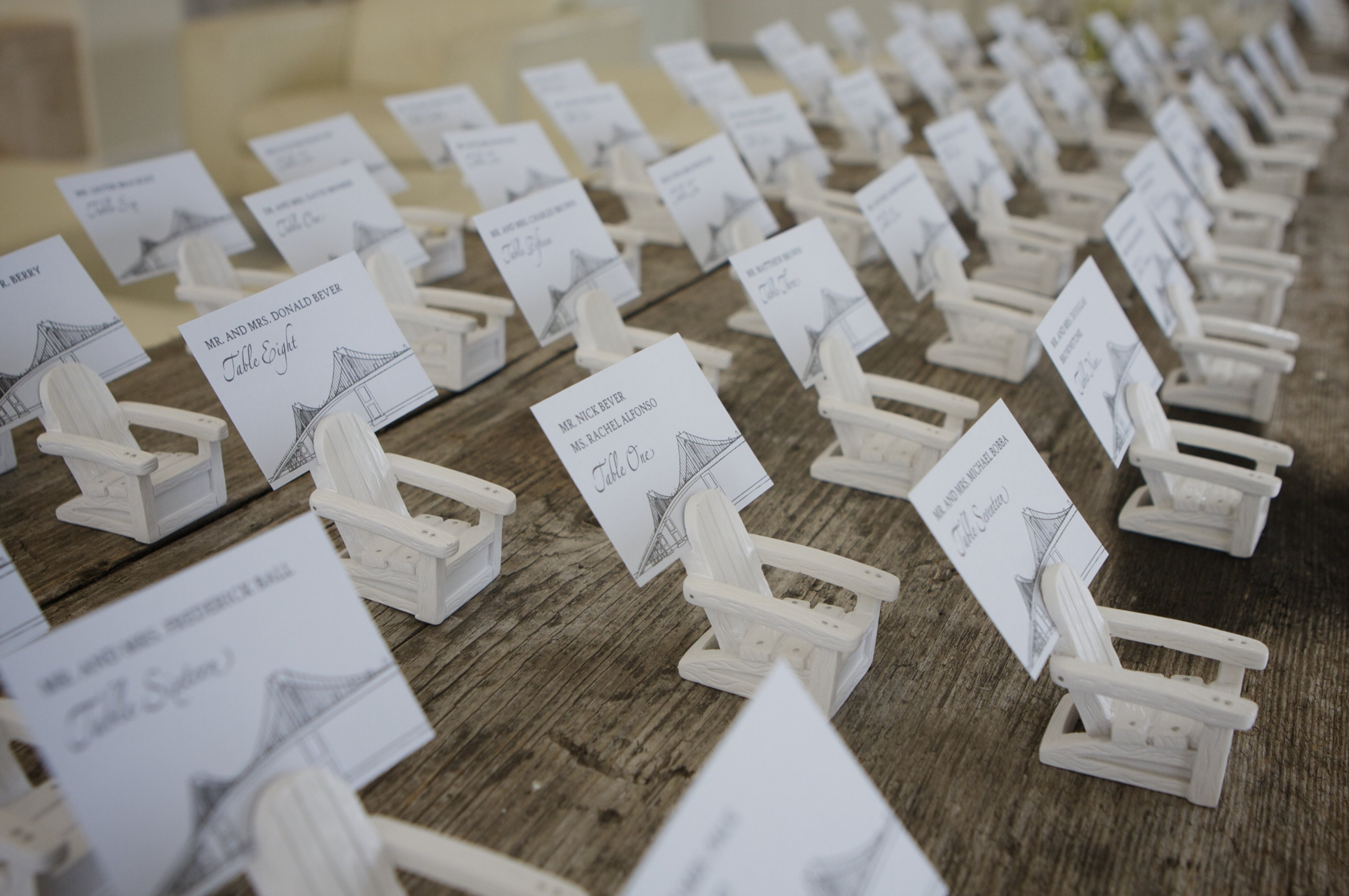 Place cards newport bridge theme on adirondack chairs at for Place card for wedding