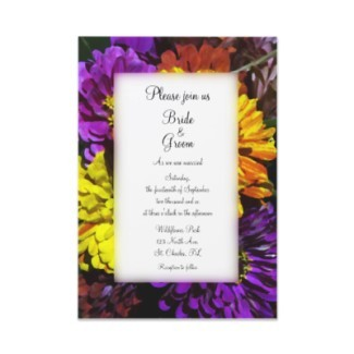 Flowers & Decor, Stationery, yellow, pink, purple, invitation, Invitations, Flower, Floral, Wedding invitation, A wedding collection by lora severson photography, Floral wedding, Zinnia
