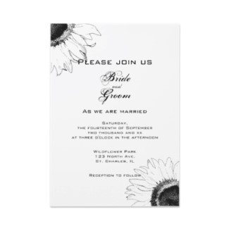 Flowers & Decor, Stationery, white, black, invitation, Invitations, Flower, Black and white, Floral, Wedding invitation, Sunflower, A wedding collection by lora severson photography, Sunflower wedding, Floral wedding, Black and white wedding
