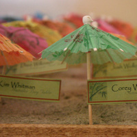 Stationery, yellow, blue, green, Invitations, Cards, Umbrella, Sand, Place, Katlem design invitations