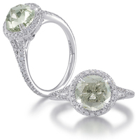 Jewelry, Diamond ring, Color stone ring, Rose cut, Christophe danhier, Semi-precious jewelry, Green amethyst ring