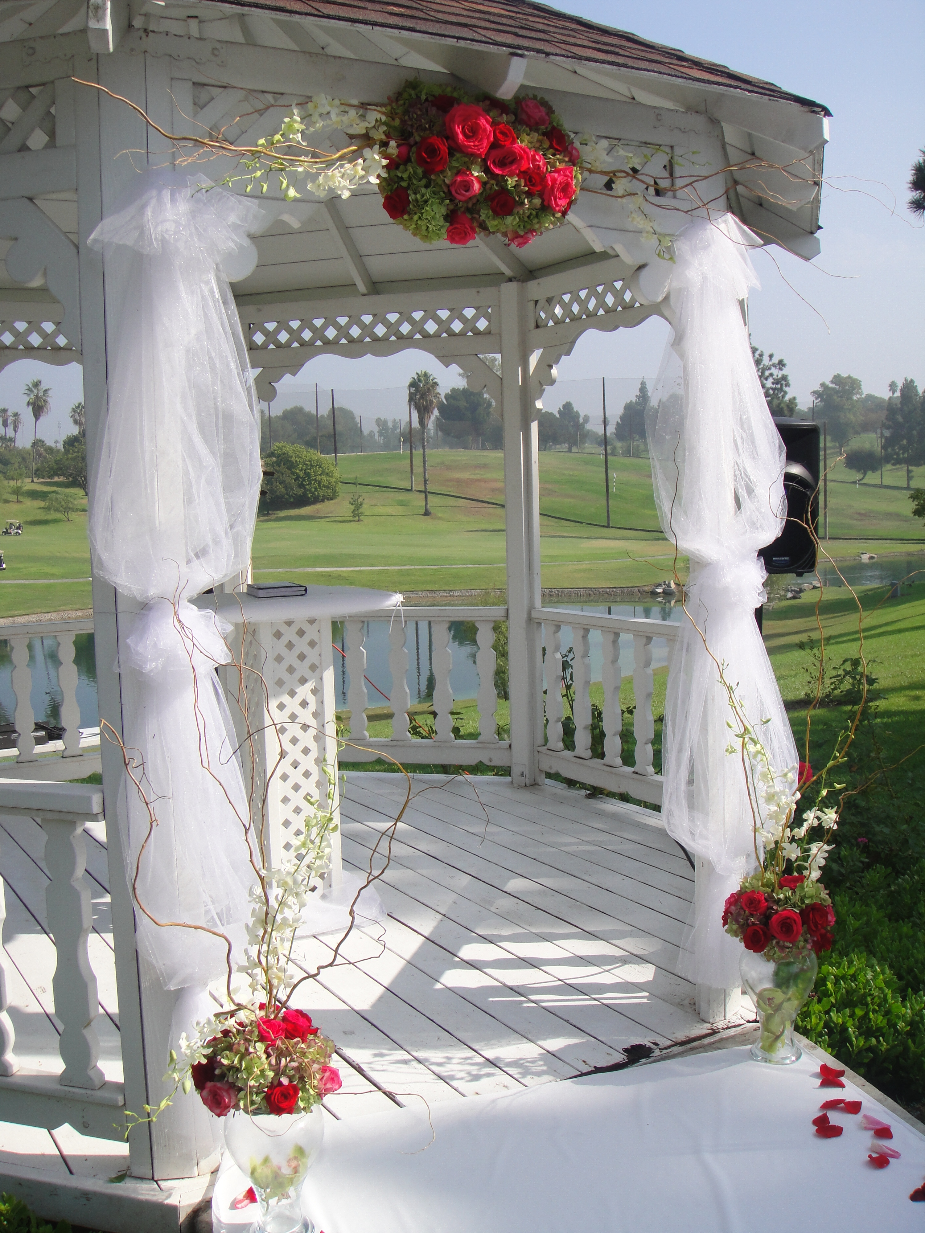 Ceremony, Flowers & Decor, white, pink, red, green, Ceremony Flowers, Outdoor, Flowers, Gazebo, Pillars, Dees petals, Swaging