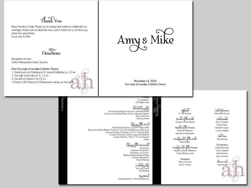 Ceremony, Reception, Flowers & Decor, Stationery, white, black, Invitations, Ceremony Programs, Programs, Wedding, Program, Weddings by ah
