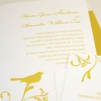 Inspiration, Flowers & Decor, Stationery, white, yellow, Garden, Invitations, Bird, Board, Branch, Simple, Vineyard wedding invitation, Canary, Southall eden