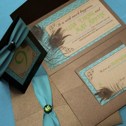 Beauty, Inspiration, Stationery, blue, green, brown, Feathers, Vintage, Invitations, Teal, Board, Pocket, Peacock, Bronze, Feather, Glam invitations, Southall eden