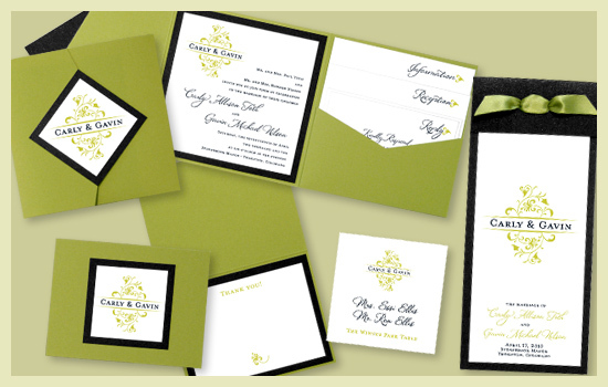 Stationery, white, green, black, invitation, Invitations, Thank You Notes, Escort Cards, Program, Place card, Wedding program, Thank you card, Thank you note, Escort card, Save the date card, I do graphics