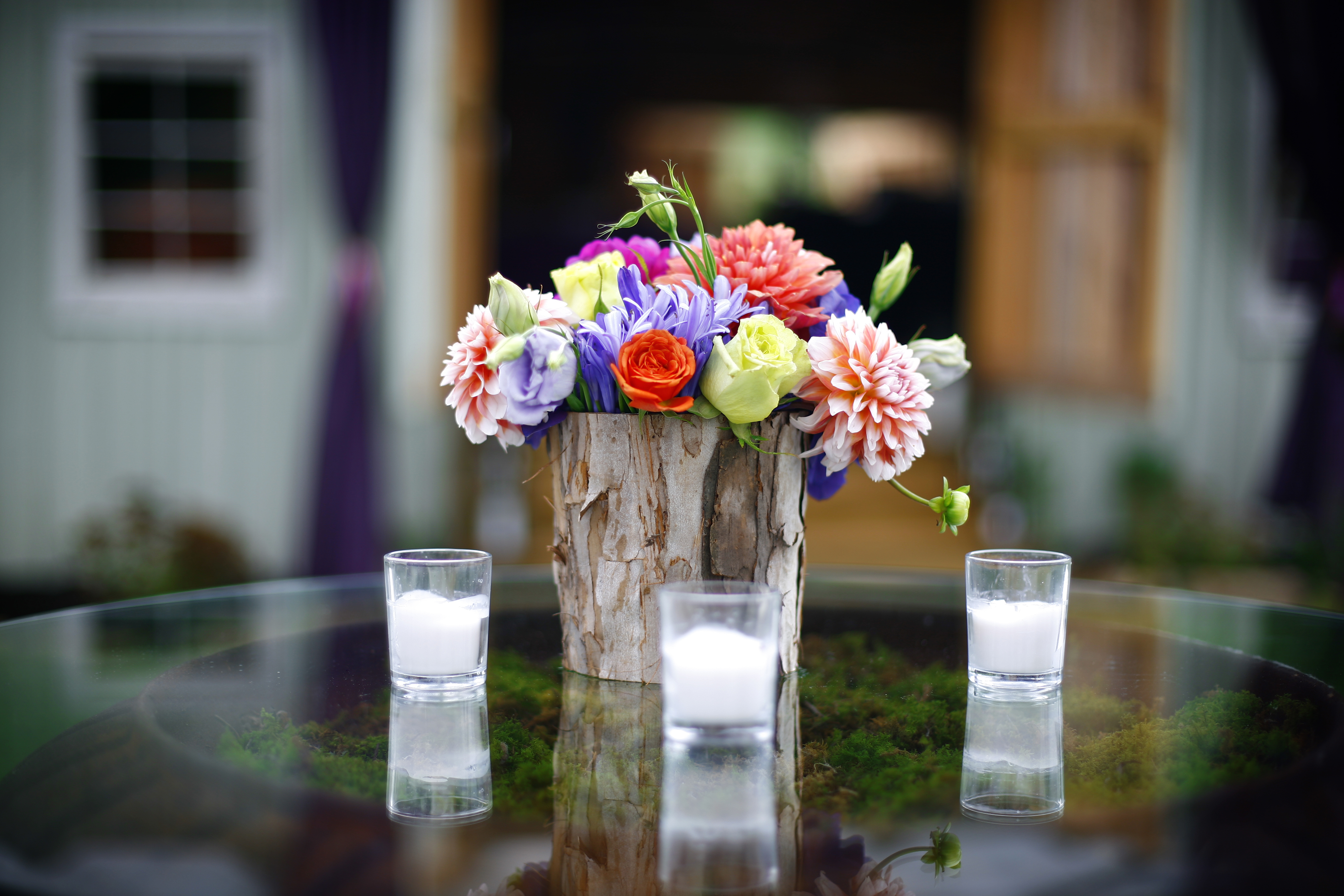 Inspiration, Reception, Flowers & Decor, orange, purple, Rustic, Outdoor, Flowers, Rustic Wedding Flowers & Decor, Board, Farm, Wood, Southall eden, Log
