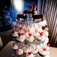 Cakes, white, pink, red, silver, cake, Vegas photo
