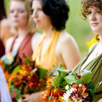 Beauty, Ceremony, Flowers & Decor, Bridesmaids, Bridesmaids Dresses, Wedding Dresses, Fashion, red, green, brown, gold, dress, Ceremony Flowers, Bridesmaid Bouquets, Flowers, Hair, Vegas photo, Flower Wedding Dresses