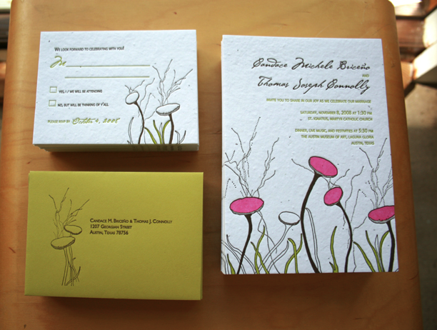 Stationery, white, pink, green, brown, Invitations, Wedding, Letterpress, Invite, Wildflowers, Recycled, Seeded, Round robin press