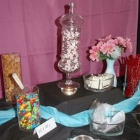 Reception, Flowers & Decor, pink, blue, Sweet dreams candy buffet confections