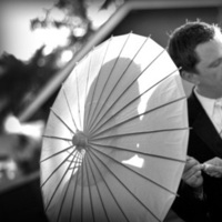 Photography, white, black, Bride, Groom, Portrait, Parasol