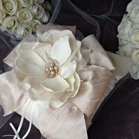 Ceremony, Flowers & Decor, ivory, Ring, Champagne, Pearls, Pillow, Bearer, Silk, Ring bearer pillow, Emici bridal