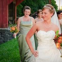 Beauty, Flowers & Decor, Bridesmaids, Bridesmaids Dresses, Wedding Dresses, Fashion, white, orange, green, dress, Bride Bouquets, Bridesmaid Bouquets, Bride, Flowers, Hair, Walking, Ryan burwell photography, Flower Wedding Dresses