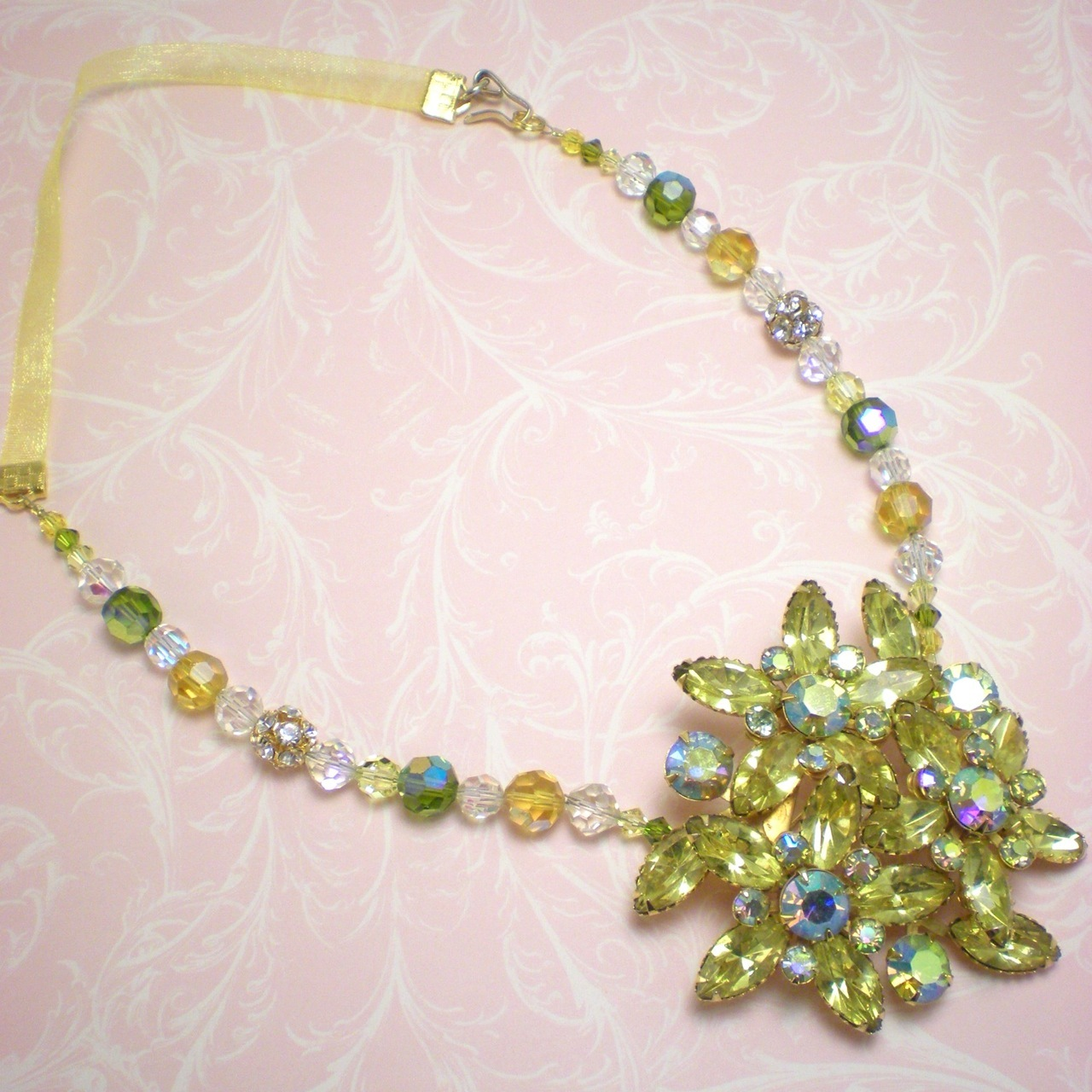 Flowers & Decor, Jewelry, yellow, green, gold, Necklaces, Brooches, Vintage, Garden, Lime, Bridesmaid, Bridal, Crystal, Ribbon, Necklace, Swarovski, Old, Brooch, Costume, Rhinestone, Hollywood, Glamour, Dana saylor designs, Olive, Recycled, Peridot, Repurposed, Daffodil, Jonquil, Bridesma