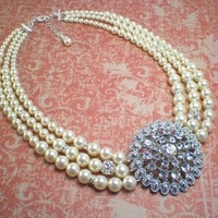 Jewelry, Bridesmaids, Bridesmaids Dresses, Fashion, white, ivory, silver, Necklaces, Brooches, Bride, Bridesmaid, Bridal, Necklace, Cream, Old, Brooch, Sparkle, Rhinestone, Hollywood, Bling, Art, Glamour, Three, Deco, Dana saylor designs, Clear, Strand, Cubic, Zirconia, Graduated, Adjustable