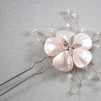 Beauty, Flowers & Decor, Jewelry, Bridesmaids, Bridesmaids Dresses, Fashion, white, silver, Bride Bouquets, Bridesmaid Bouquets, Bride, Flowers, Flower, Girl, Hair, Bridal, Pearls, Crystal, Accessory, Pearl, Pin, Beads, Wire, Jane tran design, Flower Wedding Dresses