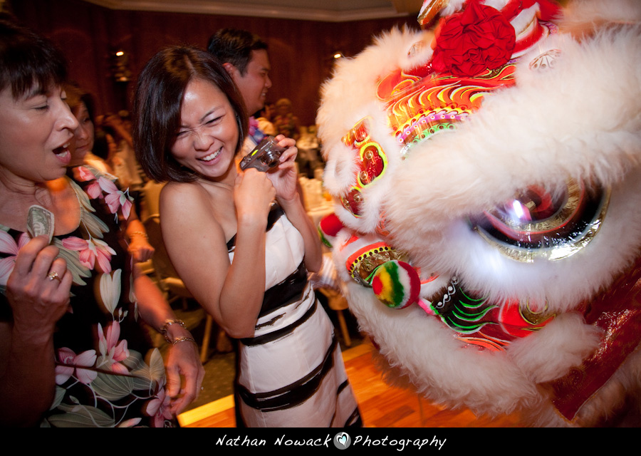 Reception, Flowers & Decor, red, Dance, Chinese, Lion, Funny, Tradition, Nathan nowack photography, Scared