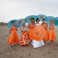 Beauty, Bridesmaids, Bridesmaids Dresses, Wedding Dresses, Fashion, orange, blue, dress, Hair
