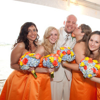 Flowers & Decor, Bridesmaids, Bridesmaids Dresses, Fashion, white, yellow, orange, blue, Bridesmaid Bouquets, Flowers, Flower Wedding Dresses